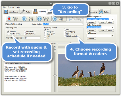 Choose the recording options