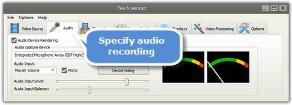 Specify Audio Recording